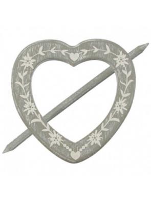 S67216- Broche Corazón Madera